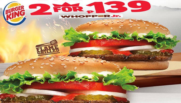 Carte Burger King.2 For P139 Ala Carte Orders Of Burger King Whopper Jr Cdo