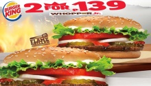 burger king 2 for P139 Ala Carte Orders of Whopper Jr FI