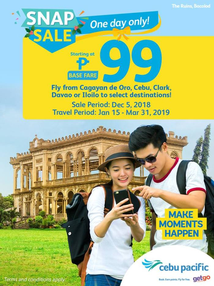cebu pacific snap sale base fare P99