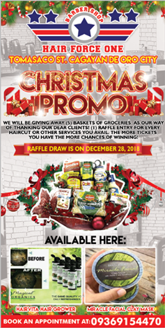 Hair Force One Barber Shop Christmas Promo