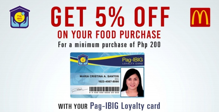 McDonald's 5percent off using pag-ibig