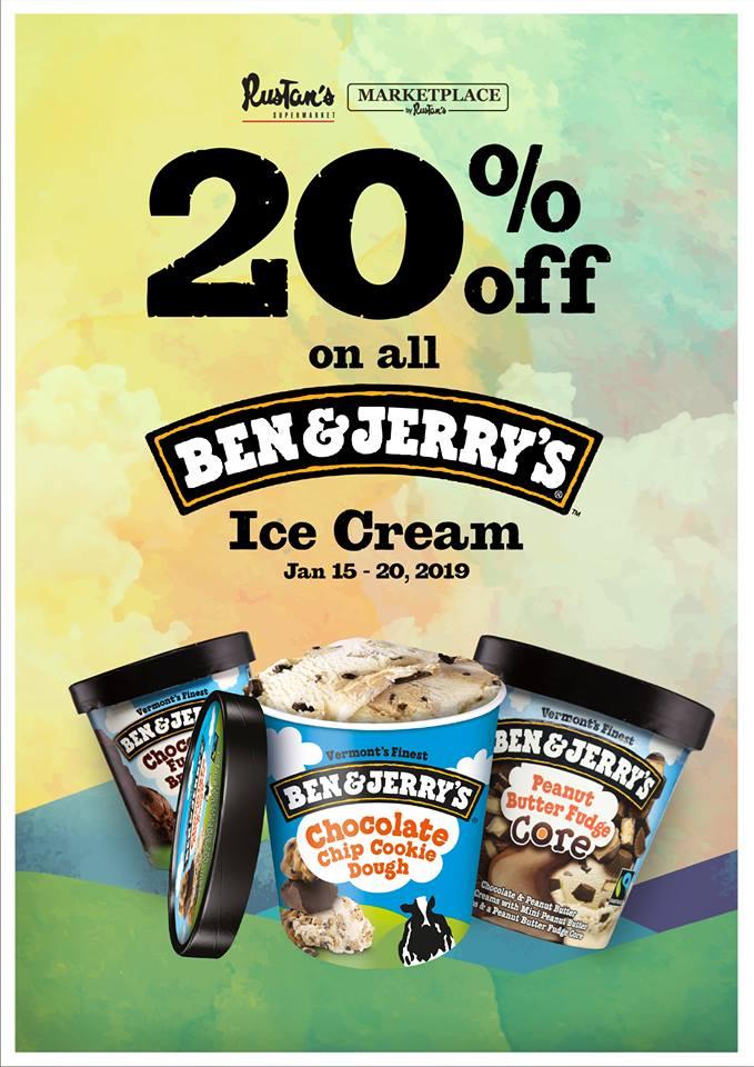 Ben & Jerrys ice cream 20percent off