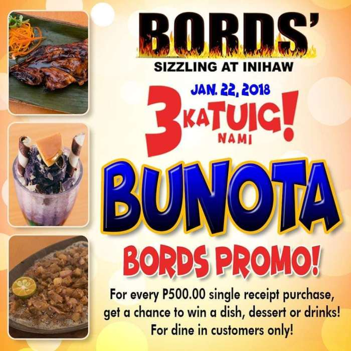Bords' Sizzling at inihaw 3rd anniversary promo