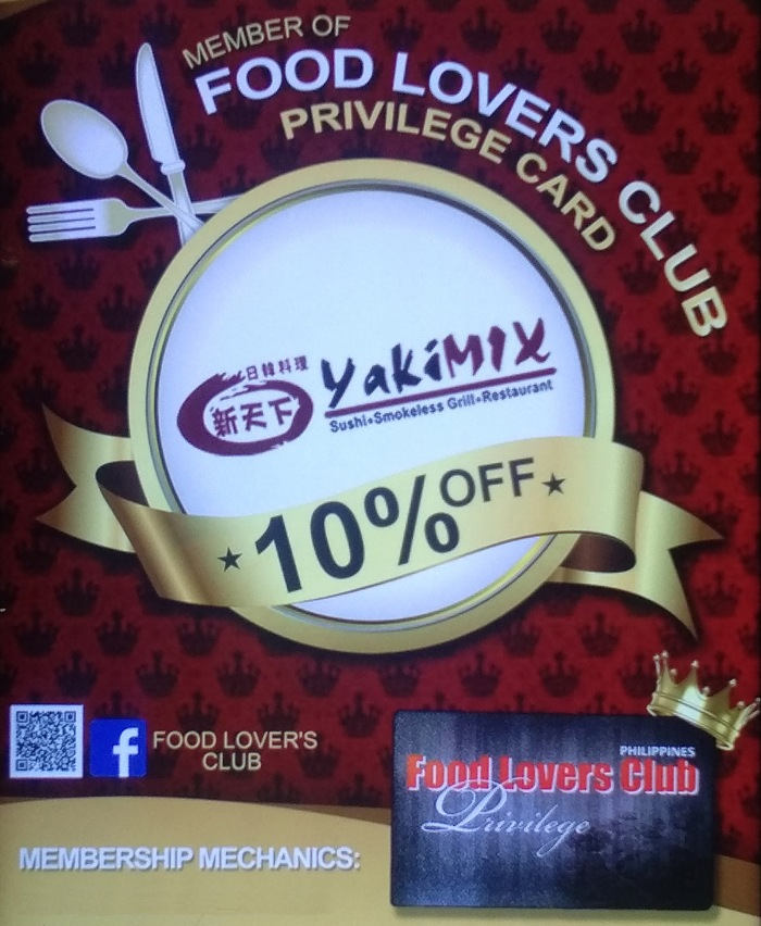 Food Lovers Club privilege card Yakimix discount