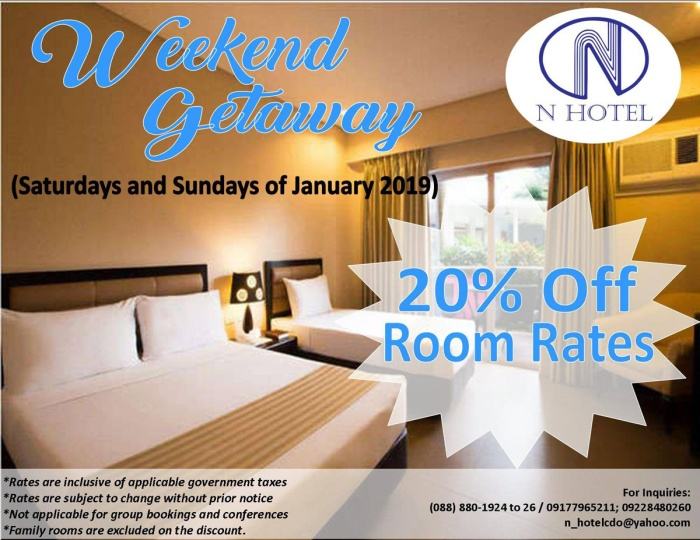 N Hotel 20% off room rates