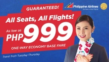Philippine Airlines 999 one-way economy base fare FI