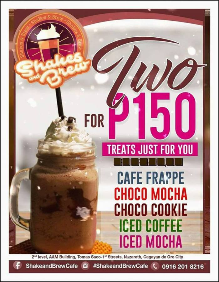 shake and brew cafe 2 for p150
