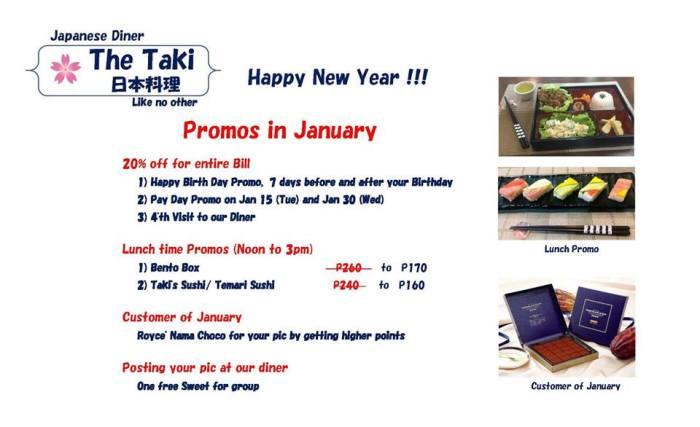 Taki's Diner January Promo