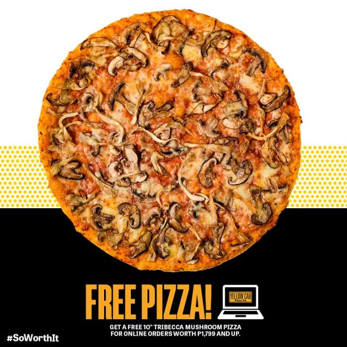 Yellow Cab Free Pizza on Online Orders