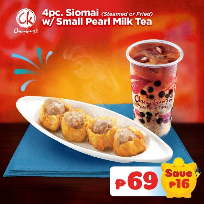 4pc Siomai with Small Pearl Milk