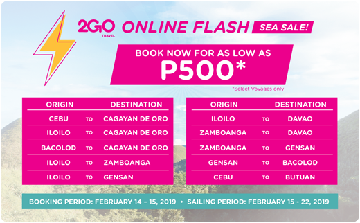 cebu to cdo 2go online flash sea sale