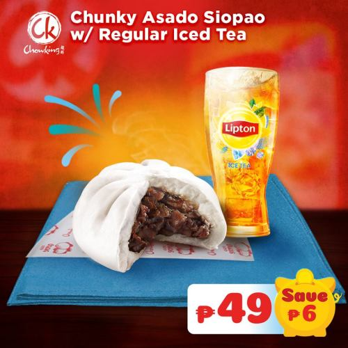 Chunky Asado Siopao Regular with Regular Iced Tea