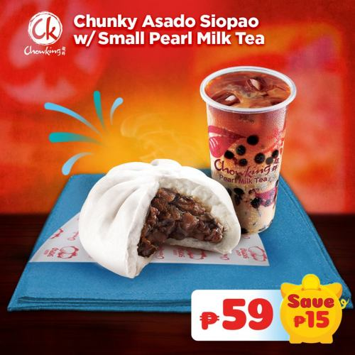 Chunky Asado Siopao with Small Pearl Milk Tea