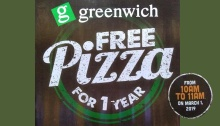 Greenwich FREE pizza for 1 year FI