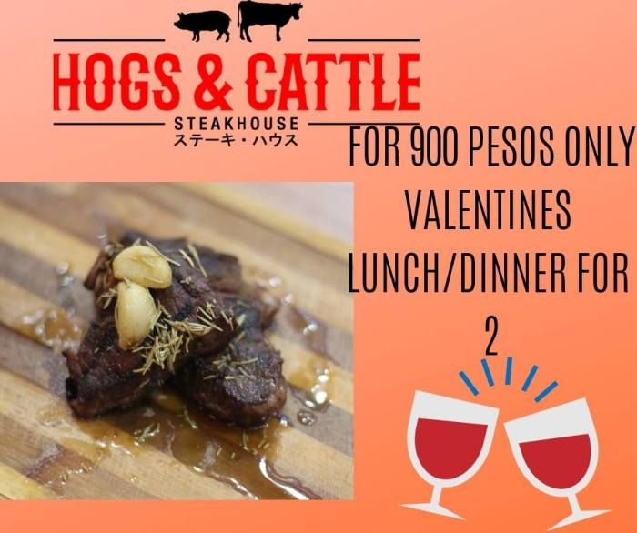 hogs and cattle lunch and dinner for 2