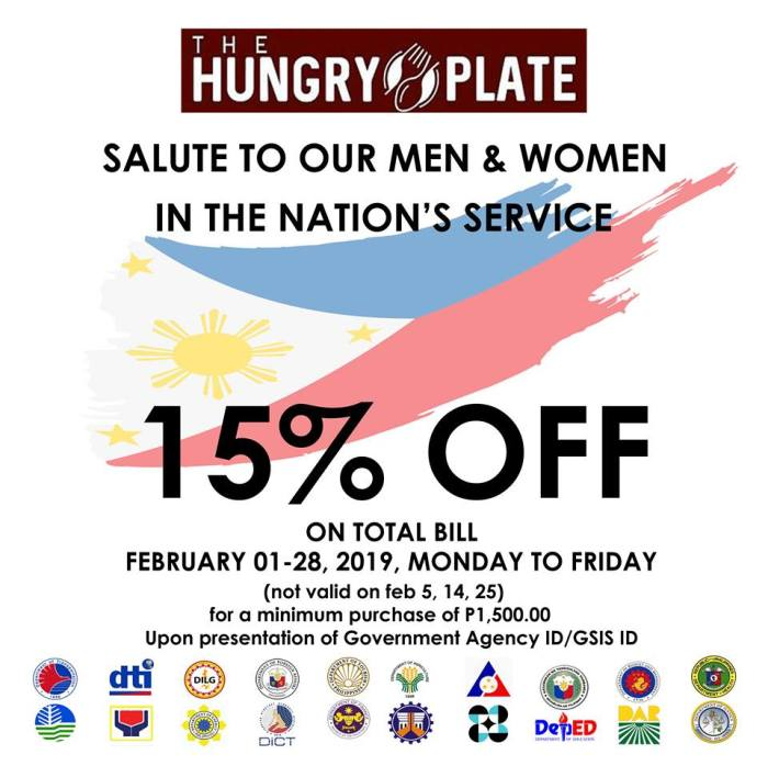 hungry plate 15percent off on total bill