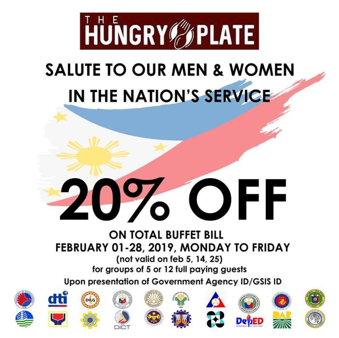 hungry plate 20percent off on buffet bill