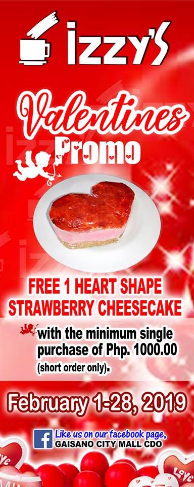 Izzy's Cafe Valentines Promo