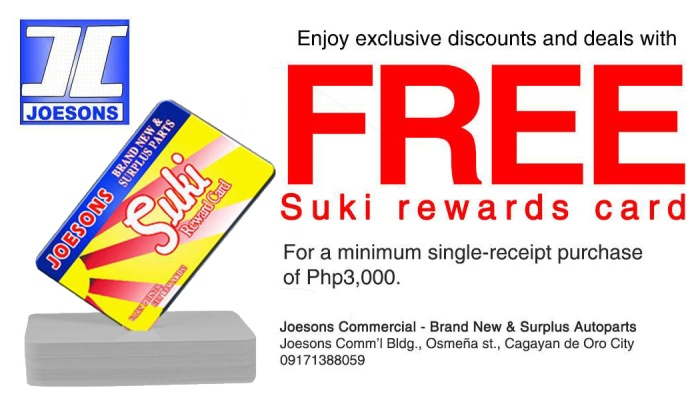 Joesons Autoparts FREE Suki Rewards Card FI