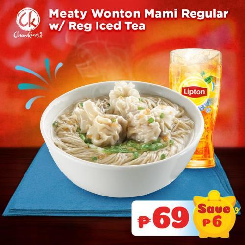 Meaty Wonton Mami with Regular Iced Tea