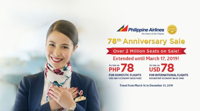 PAL 78th anniversary sale extended