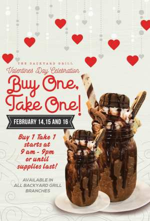 the Backyard Grill Buy 1 Take 1 Valentines Promo