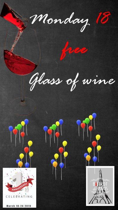 Bistrot De Paris Lifestyle District 1st Anniversary Promo free wine