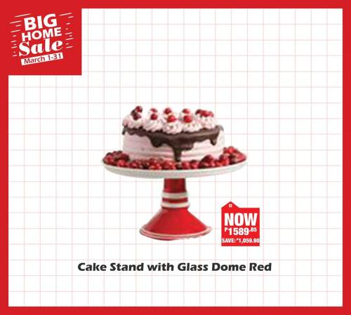 cake stand with glass dome red