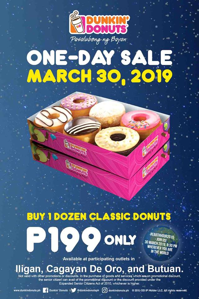 Dunkin Donuts CDO Iligan and Butuan 1-Day Sale