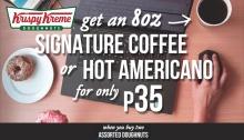 Krispy Kreme signature coffee or hot americano for P35 FI