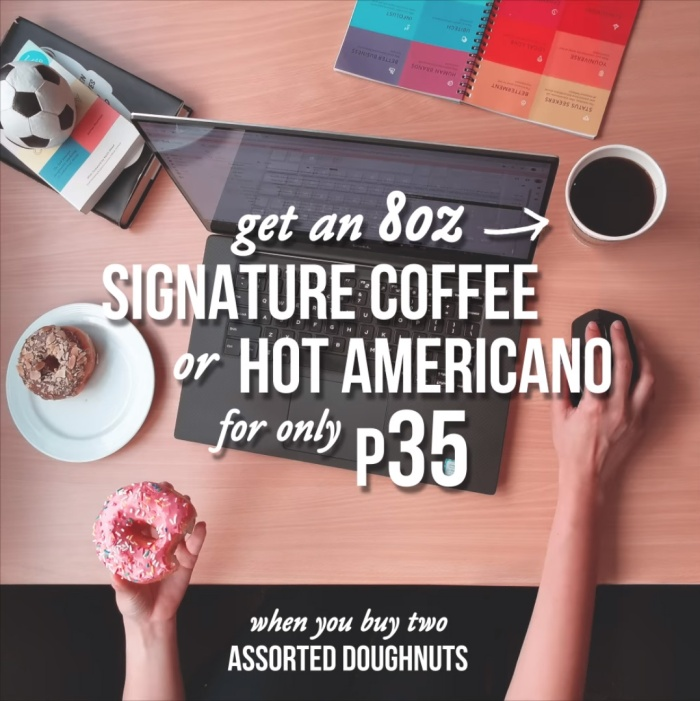 krispy kreme signature coffee or hot americano for P35