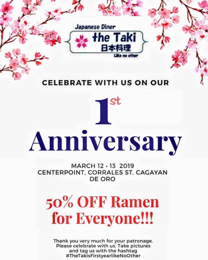 Taki\s Diner 1st Anniversary Promo