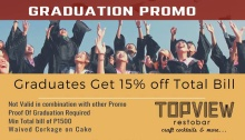 Topview Restobar at Newdawn hotel plus Graduation Promo FI