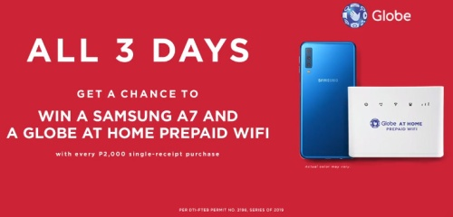 win samsung A7 and Globe at Home Prepaid Wifi