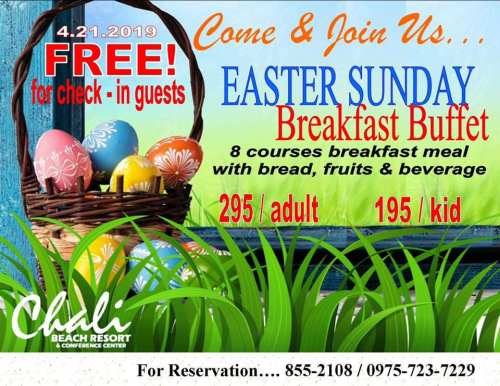 Chali Beach Resort Easter promo
