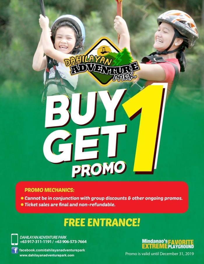 Dahilayan Adventure Park Buy 1 Get 1 Promo