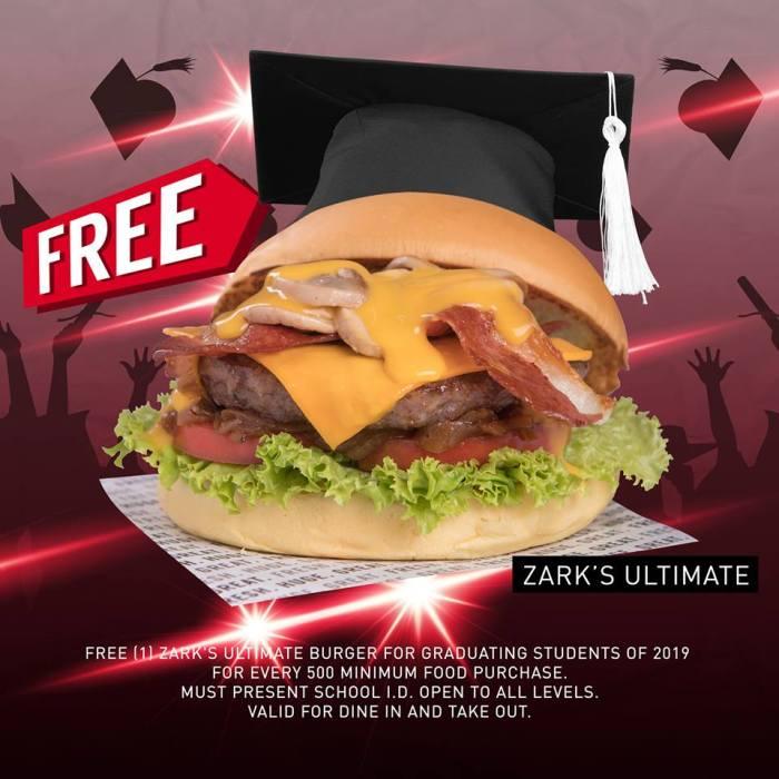 FREE Zarks Ultimate Burger for all 2019 Graduates