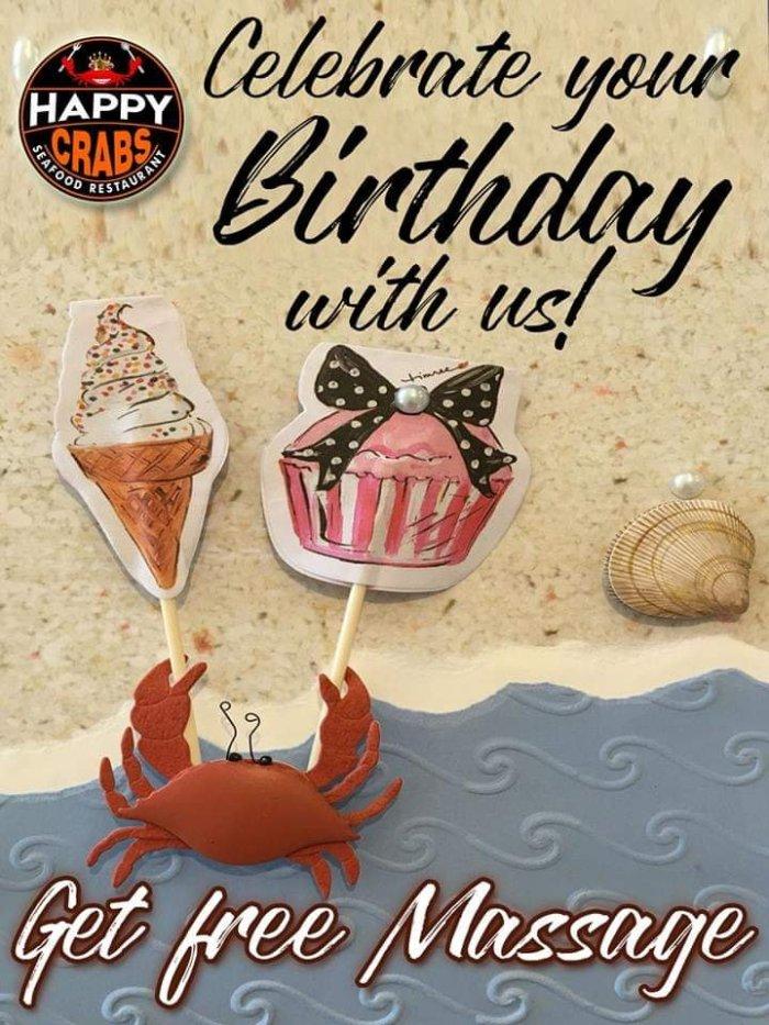 Happy Crabs Free Massage Birthday Treat