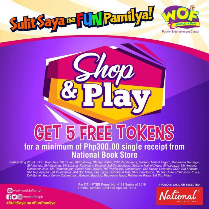 wof free 5 tokens national book store