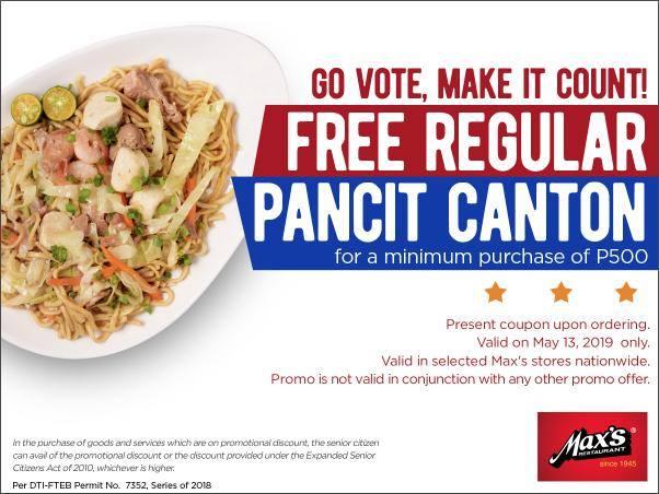 Max's Restaurant Election Day Promo FREE Pancit Canton