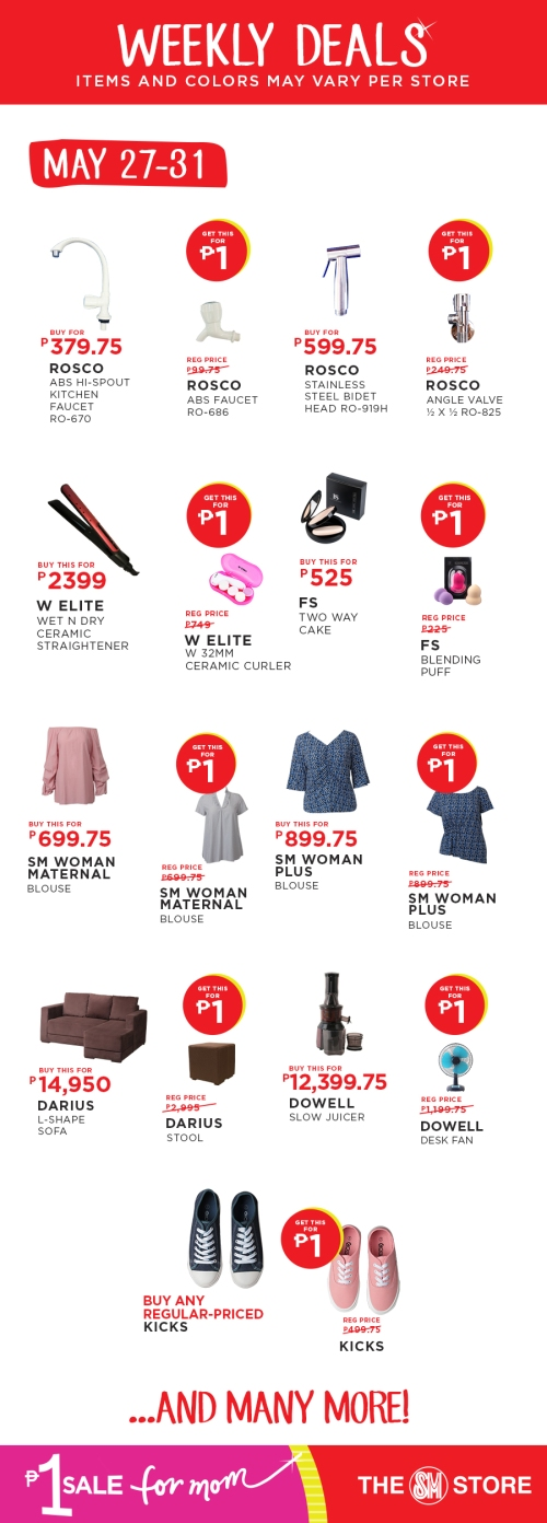 The SM Store P1 Sale for Mom FI may 27-31