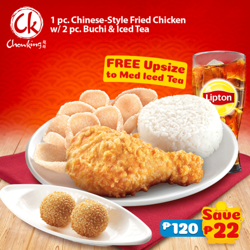 1pc ChineseStyle Fried Chicken with 2pc Buchi and Free Upsize to Medium Iced Tea