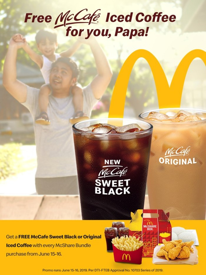 McDonalds Fathers Day FREE Iced Coffee Promo