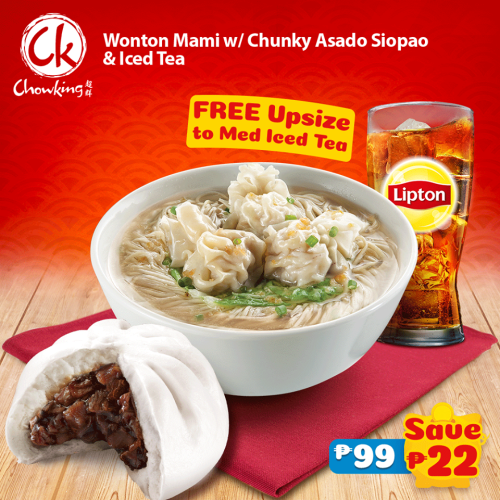 Wonton Mami with Chunky Asado Siopao & Free Upsize to Medium Iced Tea