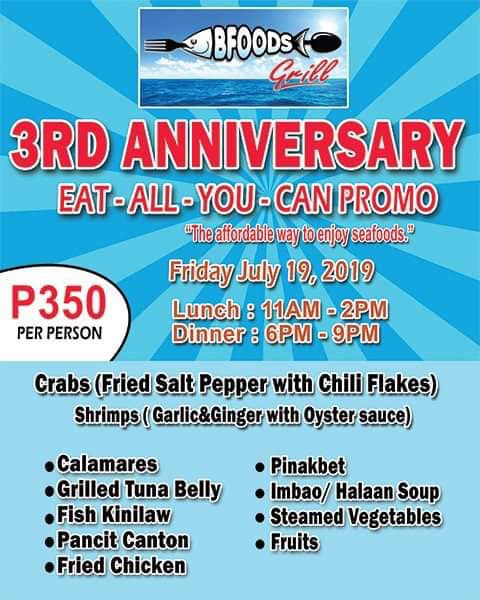 Bfoods Grill 3rd Anniversary Eat All You Can Promo