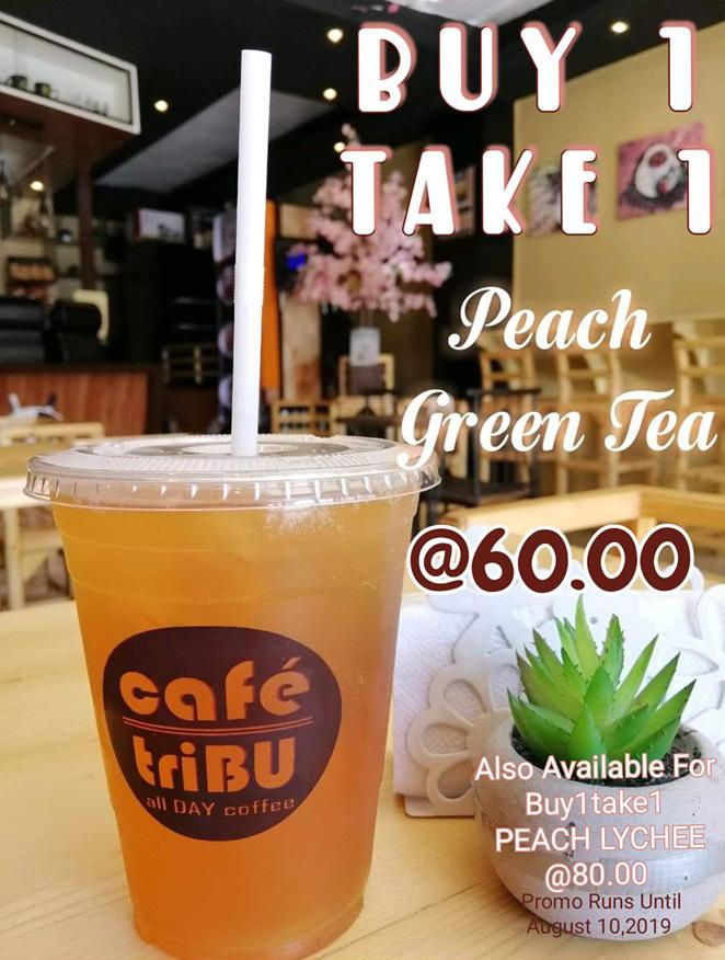 CaféTribu CDO Buy1 Take1 Peach Lychee and Peach Greentea