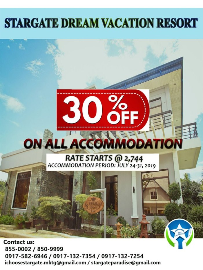 Stargate Dream Vacation Resort 30% Off on all Accommodation