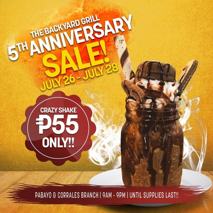 The Backyard Grill 5th Anniversary Sale