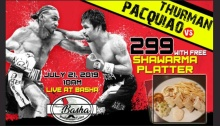 Watch Pacquiao vs Thurman at Marmar Basha and get a FREE Shawarma Platter FI