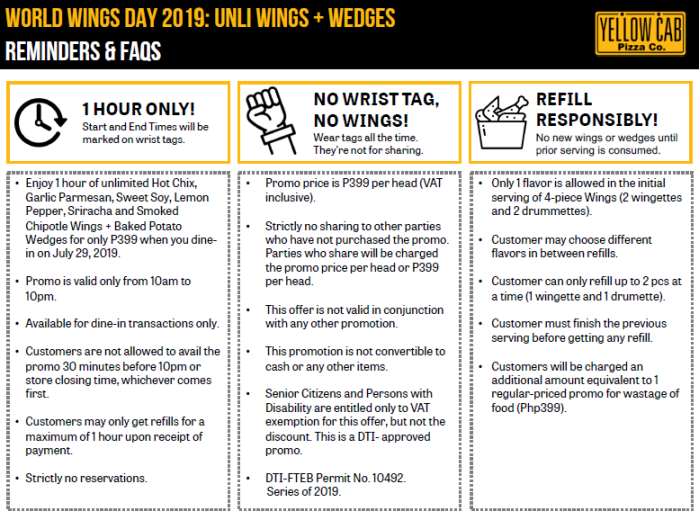 Yellow Cab Pizza World Wings Day mechanics